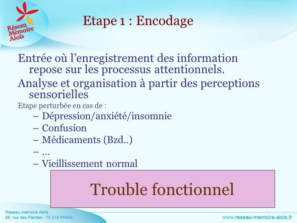 Trouble fonctionnel Etape 1 : Encodage