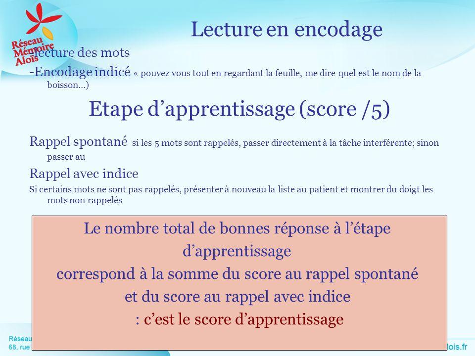 Etape d'apprentissage (score /5)