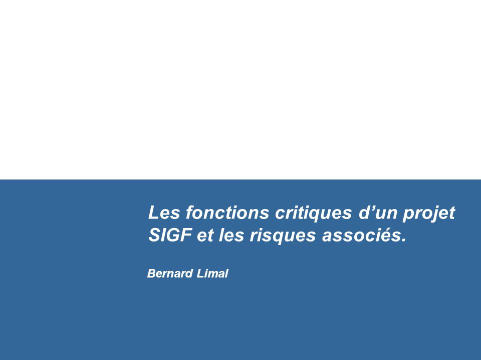 Les fonctions critiques d'un projet SIGF et les risques associés.