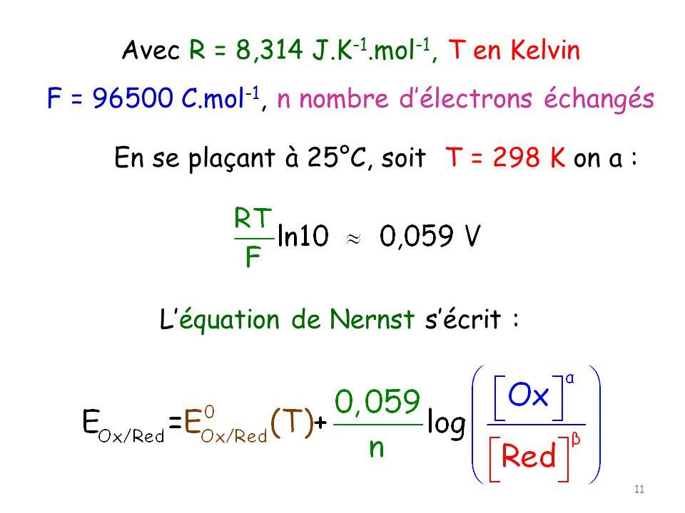 Avec R = 8,314 J.K-1.mol-1, T en Kelvin