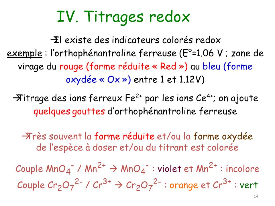 IV. Titrages redox