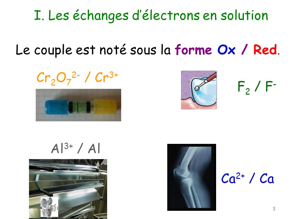 I. Les échanges d'électrons en solution