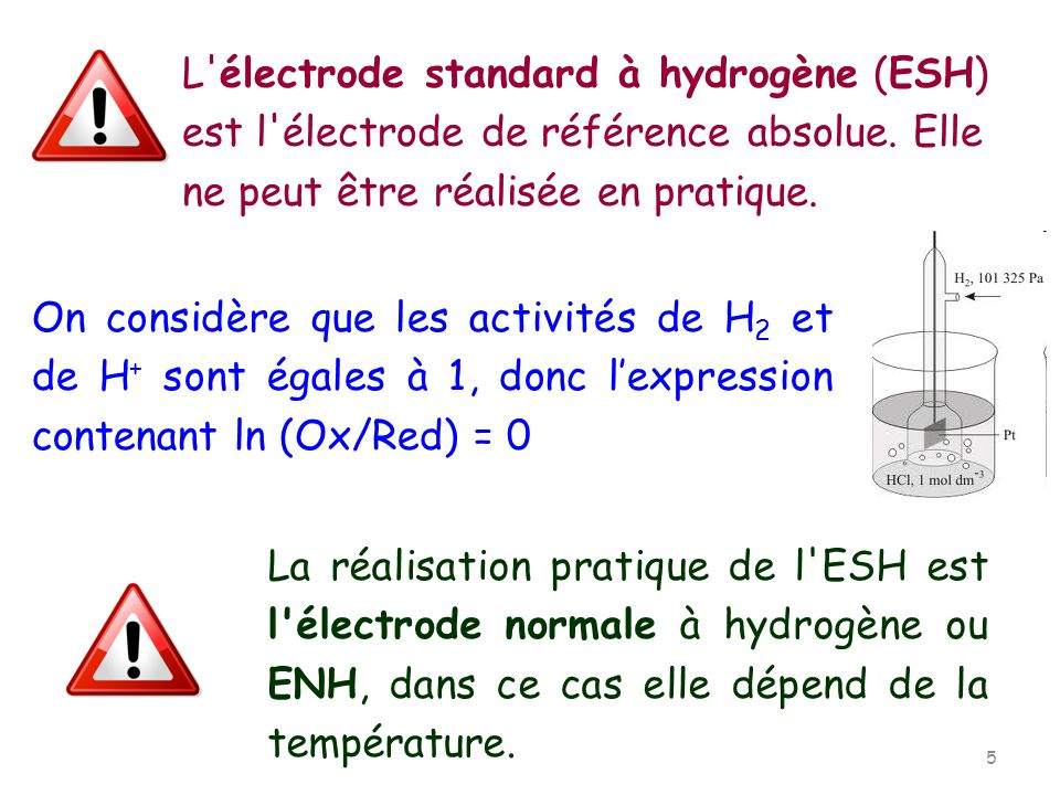L électrode standard à hydrogène (ESH) est l électrode de référence absolue. Elle ne peut être réalisée en pratique.