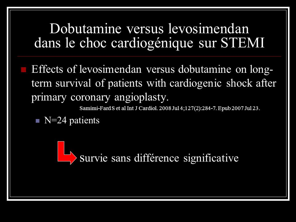 Dobutamine versus levosimendan dans le choc cardiogénique sur STEMI