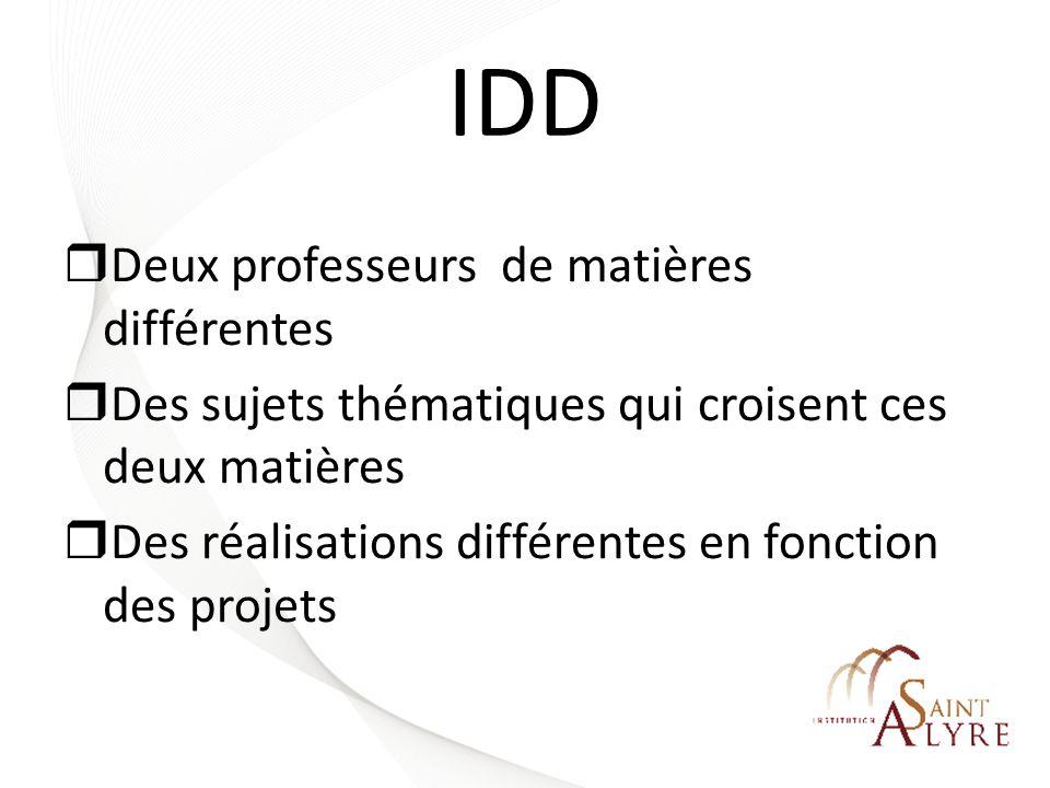 IDD Deux professeurs de matières différentes