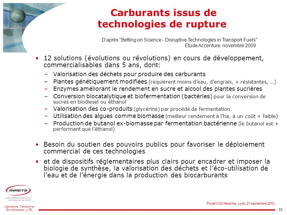 Carburants issus de technologies de rupture