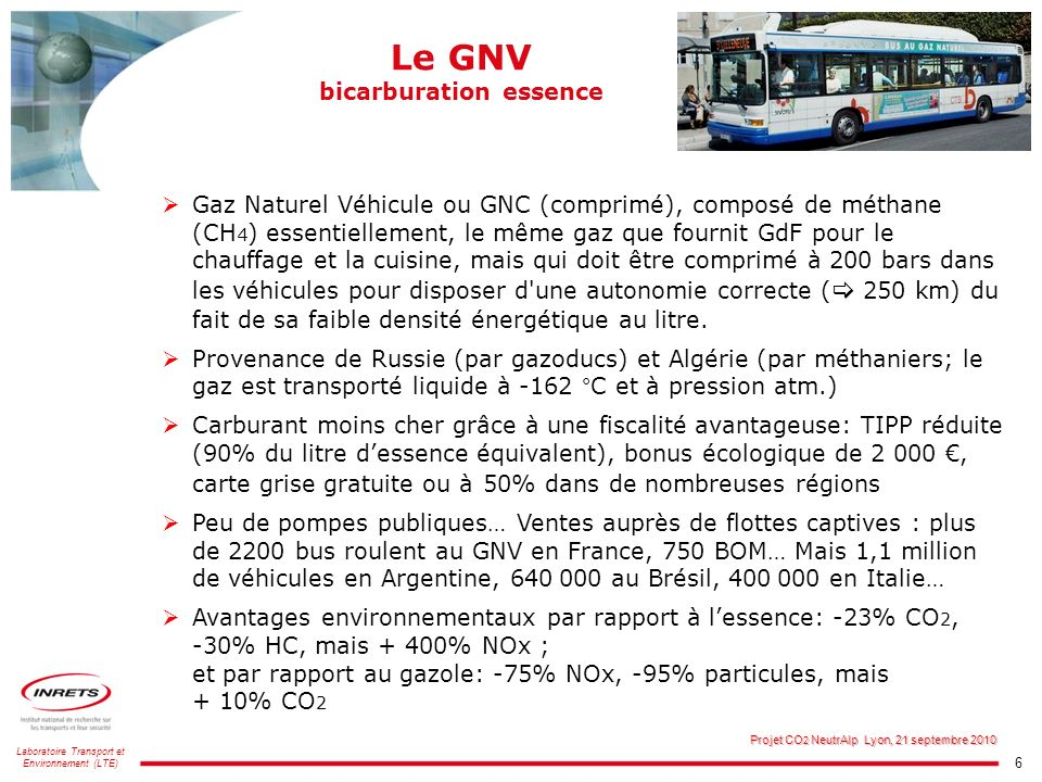 Le GNV bicarburation essence