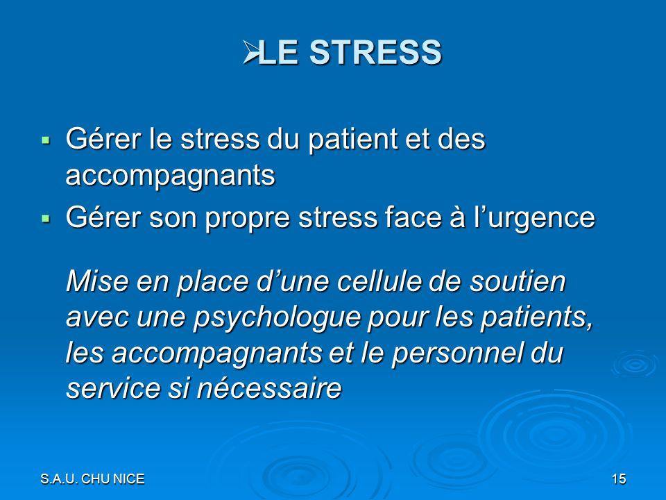 LE STRESS Gérer le stress du patient et des accompagnants