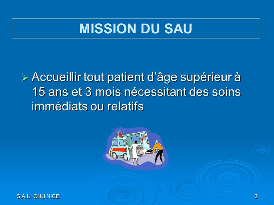 MISSION DU SAU Accueillir tout patient d'âge supérieur à 15 ans et 3 mois nécessitant des soins immédiats ou relatifs.