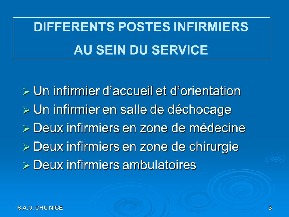 DIFFERENTS POSTES INFIRMIERS
