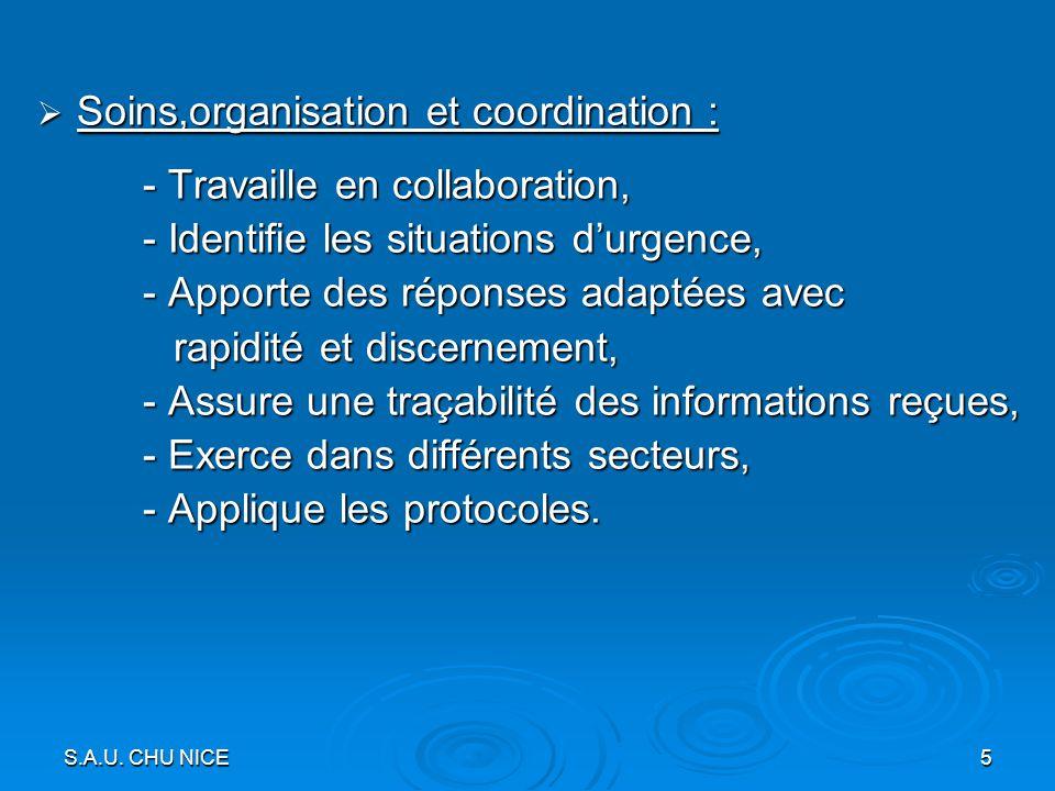 Soins,organisation et coordination :