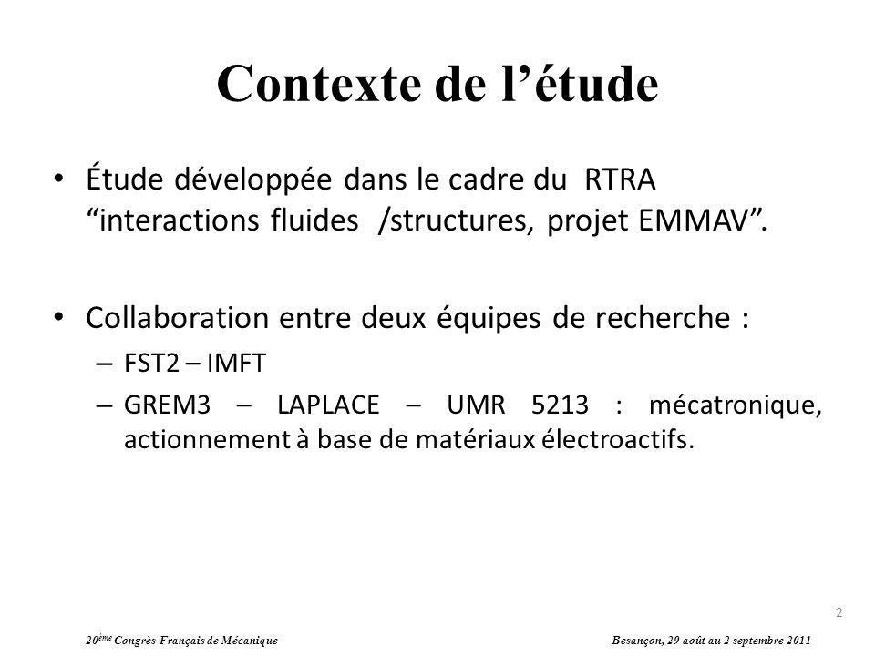 Contexte de l'étude Étude développée dans le cadre du RTRA interactions fluides /structures, projet EMMAV .