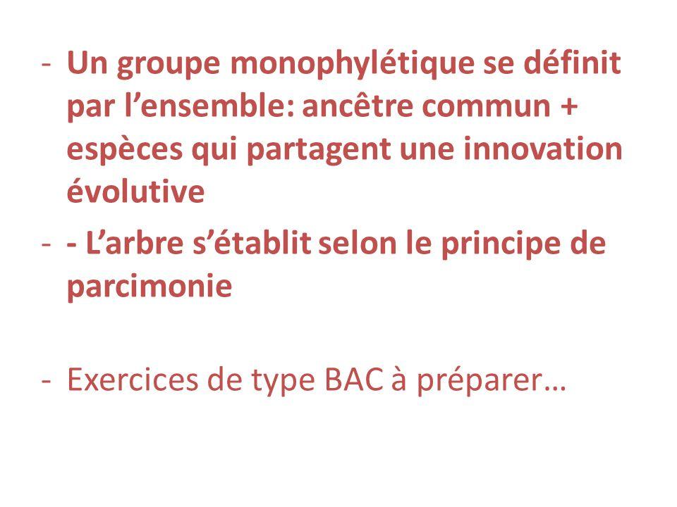Un groupe monophylétique se définit par l'ensemble: ancêtre commun + espèces qui partagent une innovation évolutive