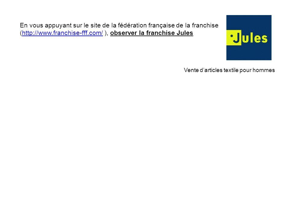 En vous appuyant sur le site de la fédération française de la franchise (http://www.franchise-fff.com/ ), observer la franchise Jules