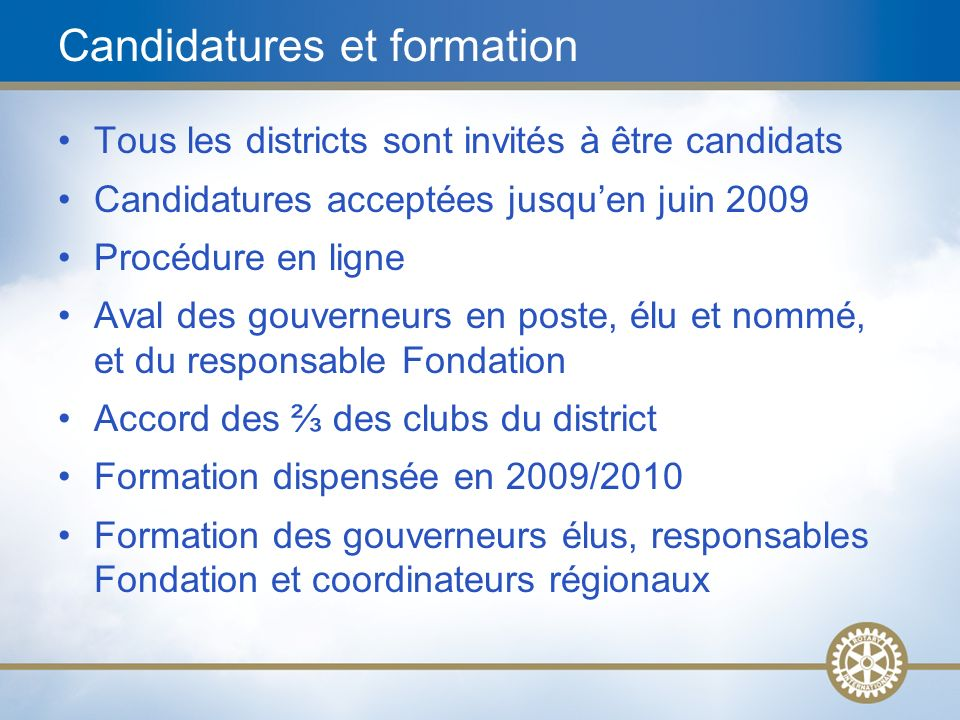 Candidatures et formation