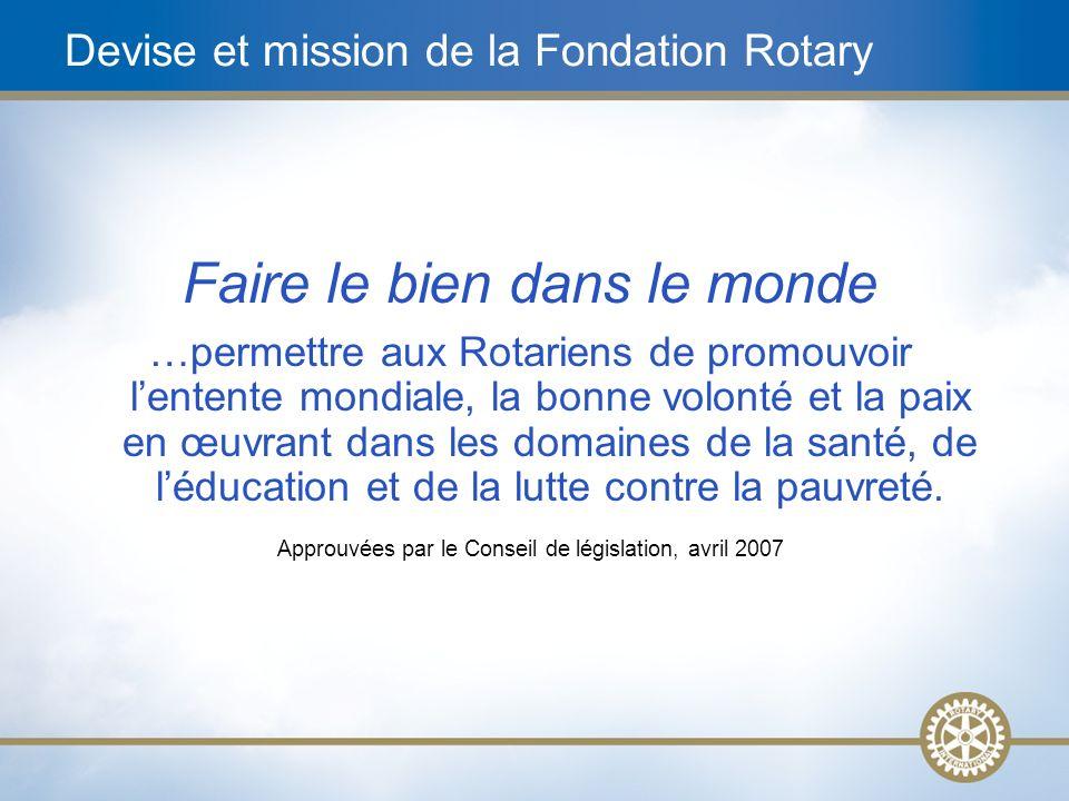 Devise et mission de la Fondation Rotary