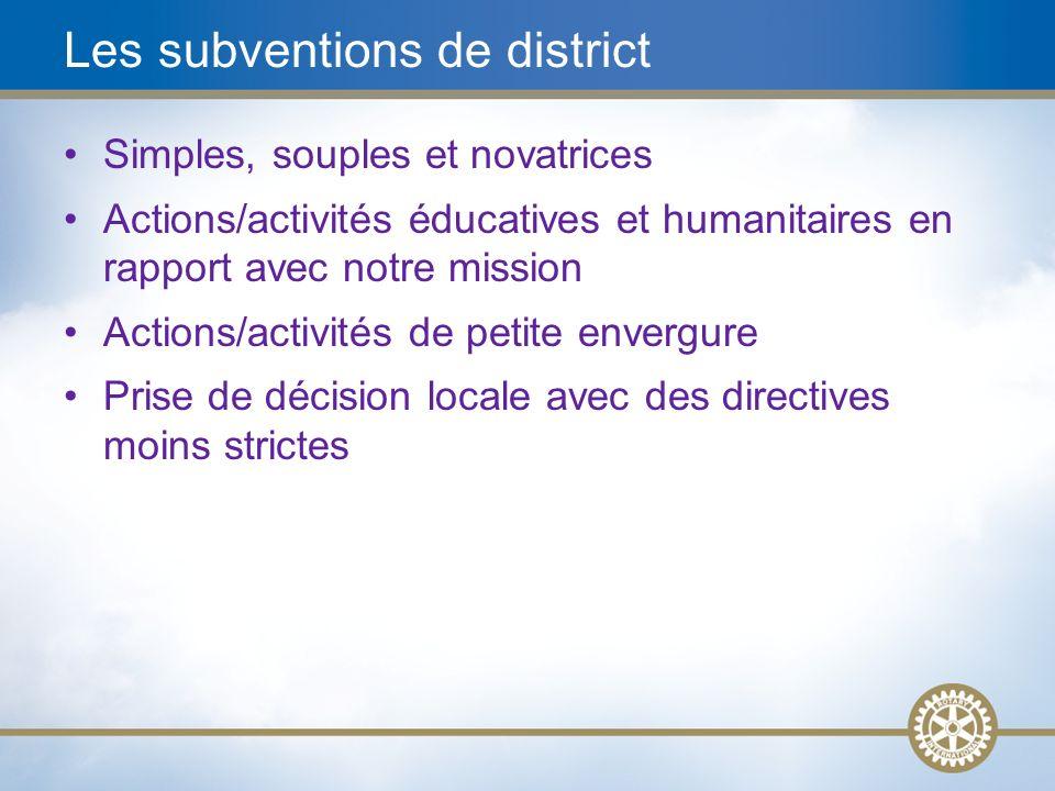 Les subventions de district