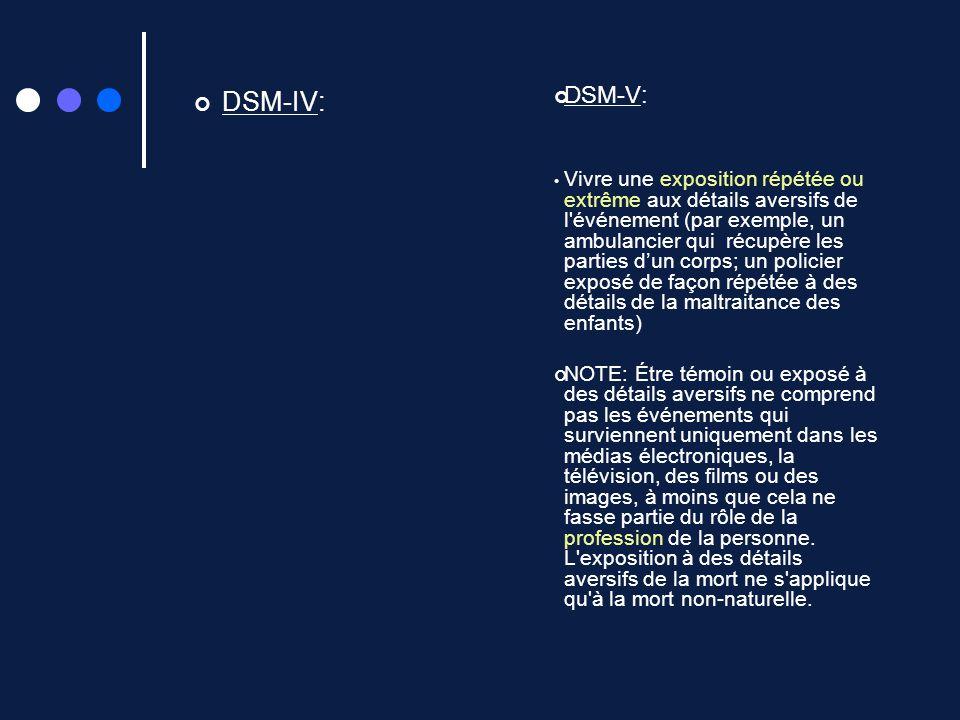 DSM-IV: DSM-V:
