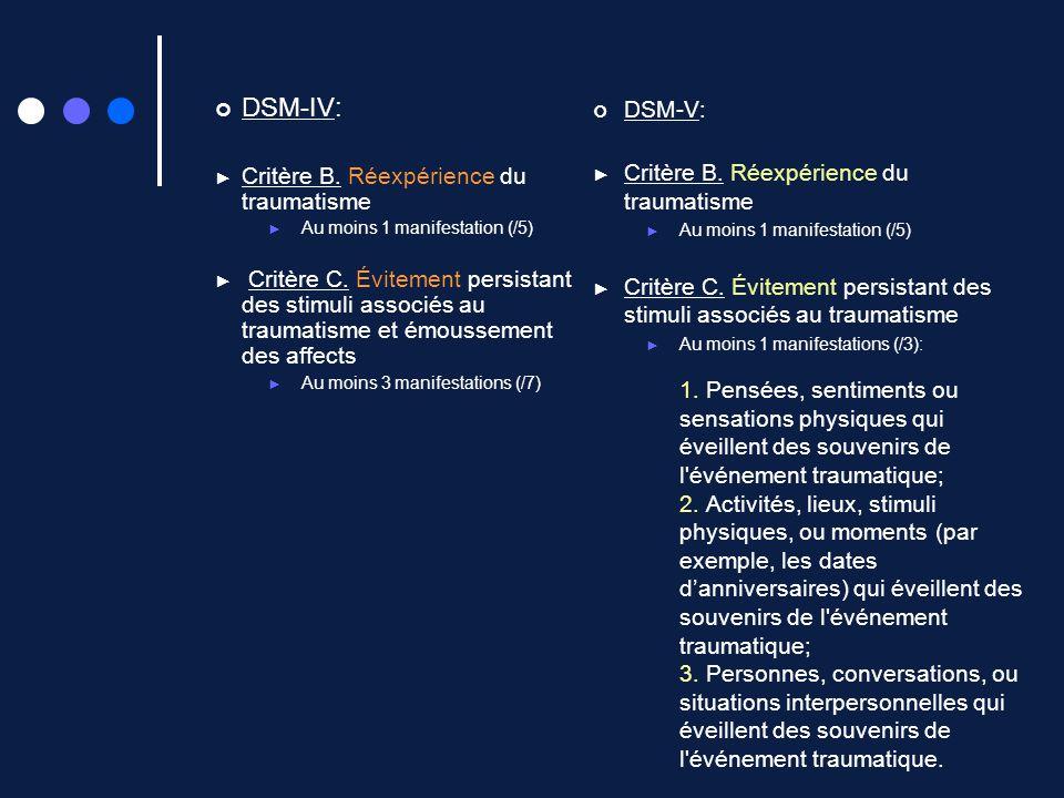 DSM-IV: DSM-V: Critère B. Réexpérience du traumatisme