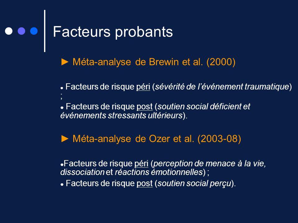 Facteurs probants ► Méta-analyse de Brewin et al. (2000)