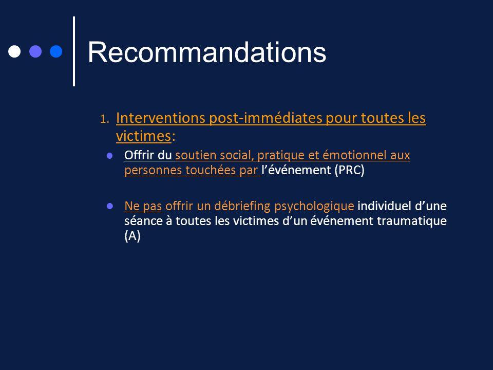 Recommandations Interventions post-immédiates pour toutes les victimes:
