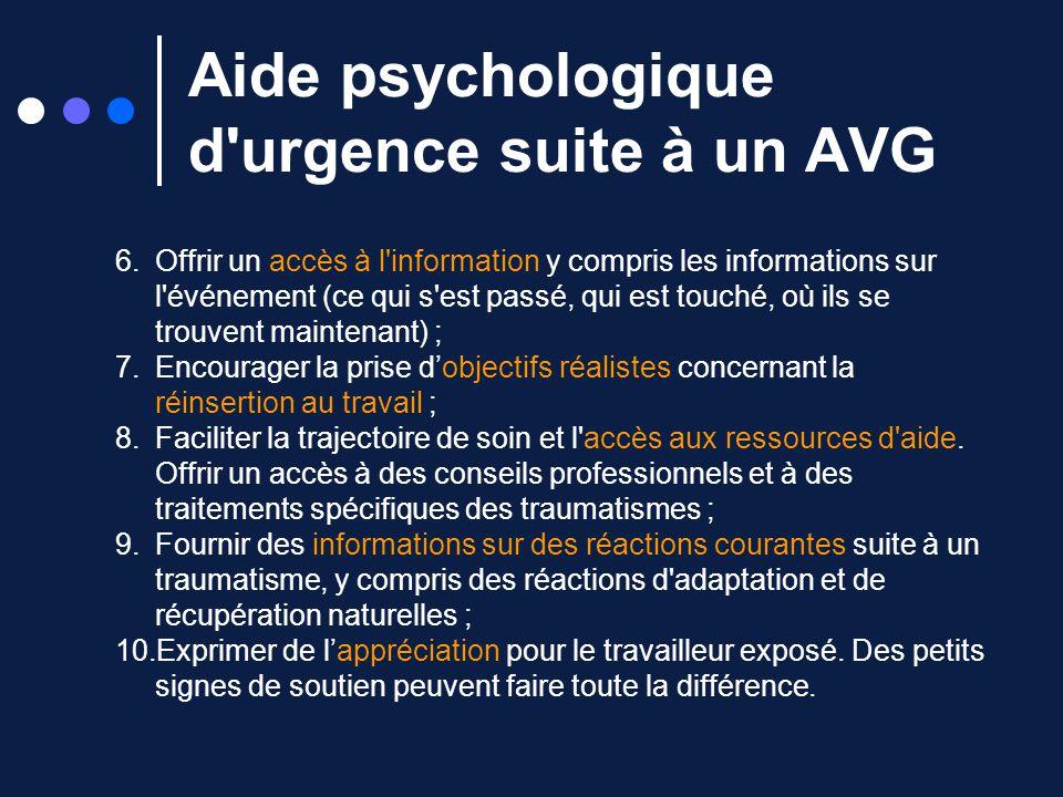 Aide psychologique d urgence suite à un AVG