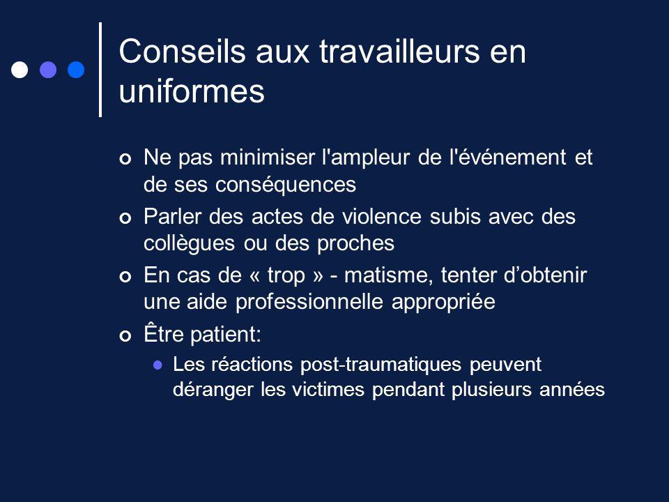 Conseils aux travailleurs en uniformes