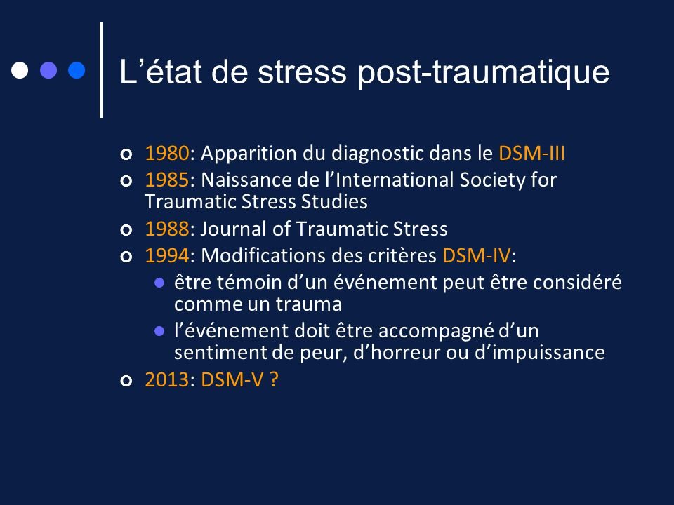 L'état de stress post-traumatique