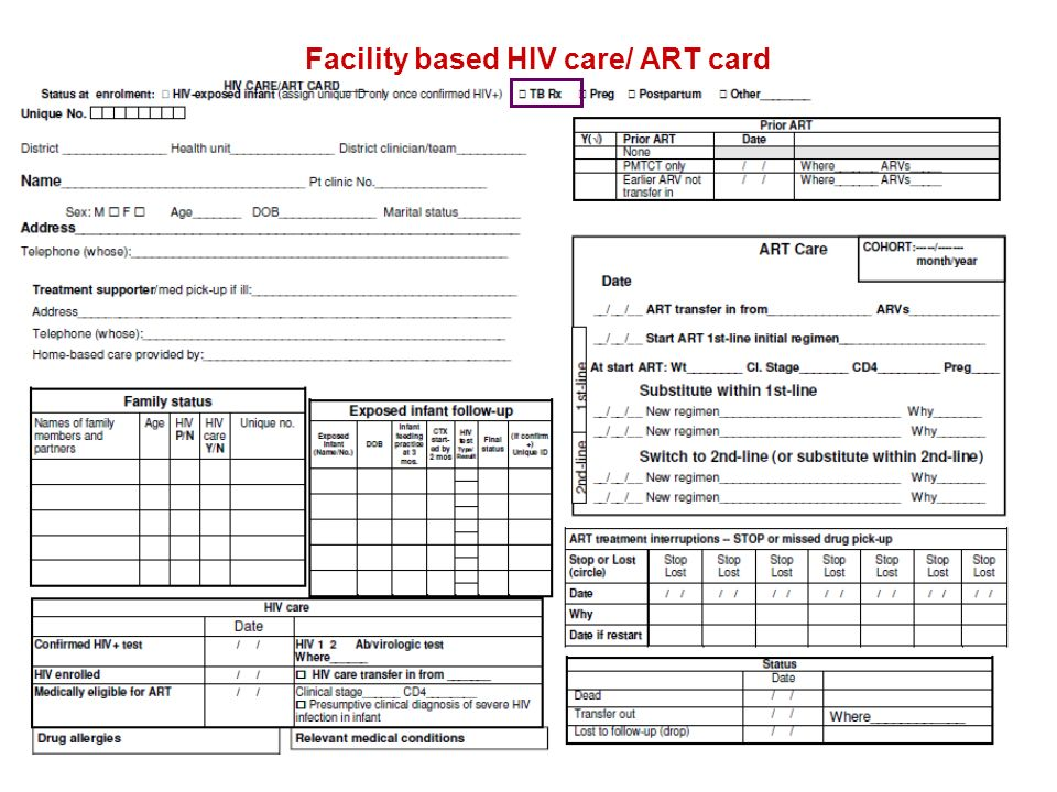 Facility based HIV care/ ART card
