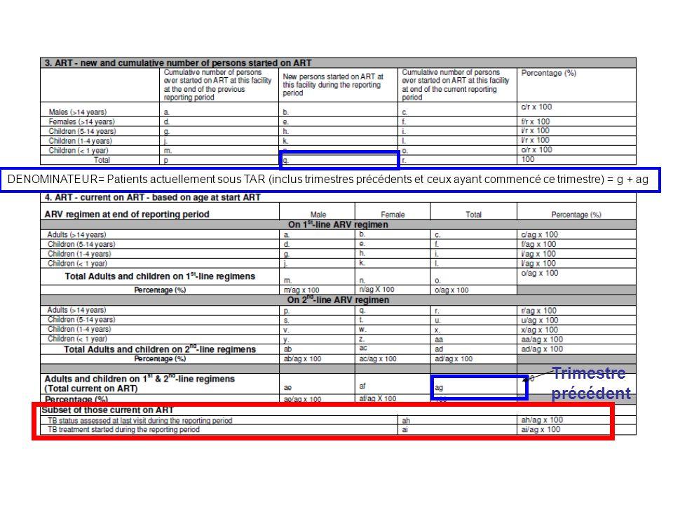 DENOMINATEUR= Patients actuellement sous TAR (inclus trimestres précédents et ceux ayant commencé ce trimestre) = g + ag