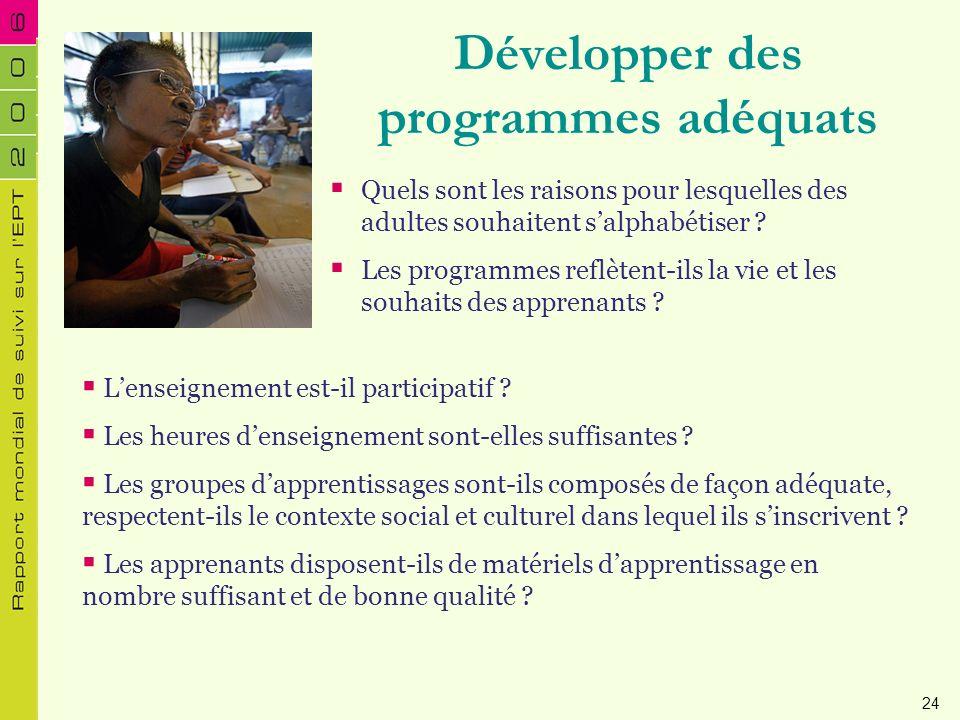 Développer des programmes adéquats