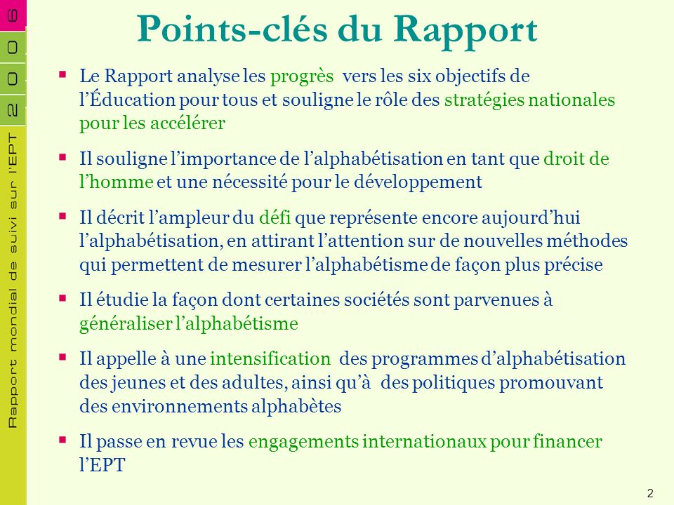 Points-clés du Rapport