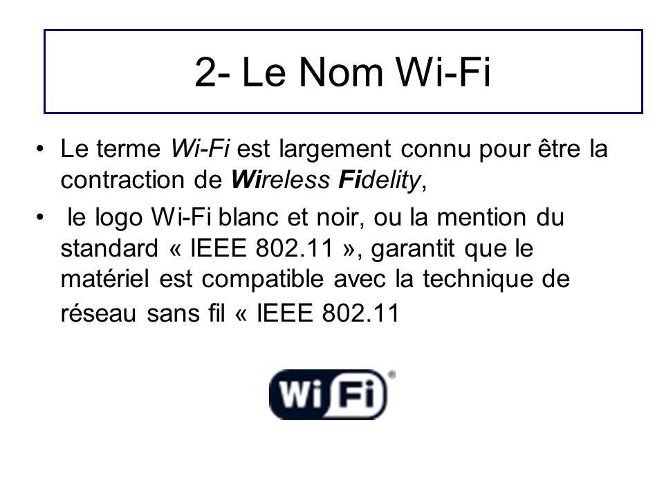 2- Le Nom Wi-Fi Le terme Wi-Fi est largement connu pour être la contraction de Wireless Fidelity,
