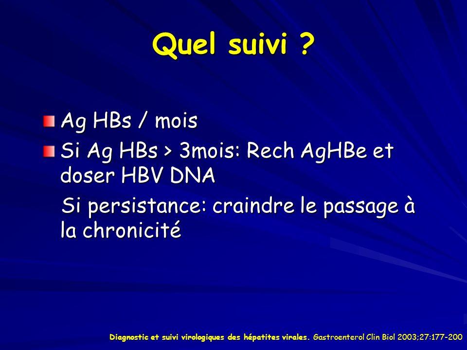 Quel suivi Ag HBs / mois. Si Ag HBs > 3mois: Rech AgHBe et doser HBV DNA. Si persistance: craindre le passage à la chronicité.
