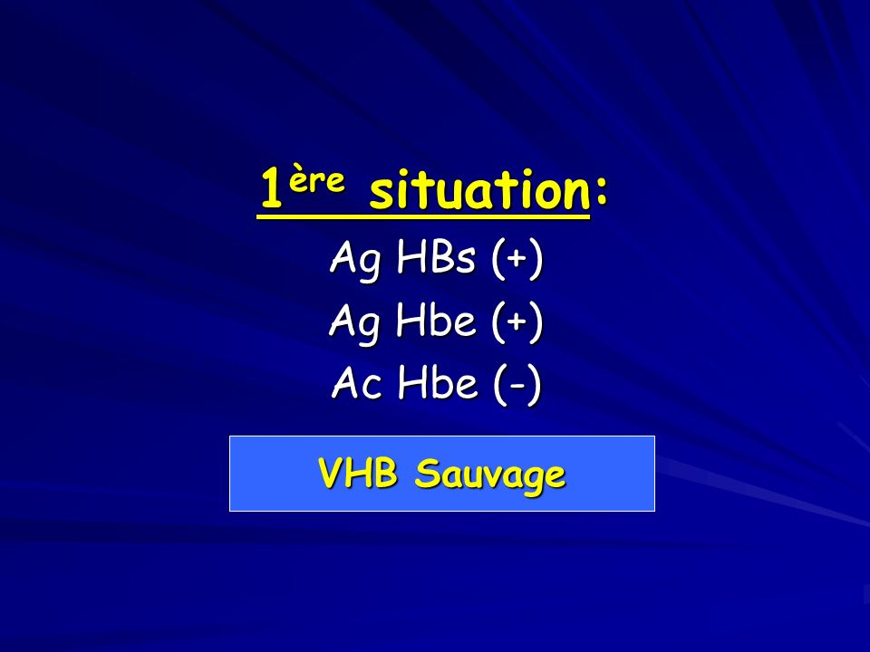 1ère situation: Ag HBs (+) Ag Hbe (+) Ac Hbe (-) VHB Sauvage