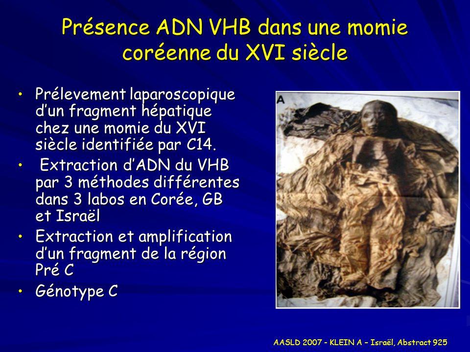 Présence ADN VHB dans une momie coréenne du XVI siècle