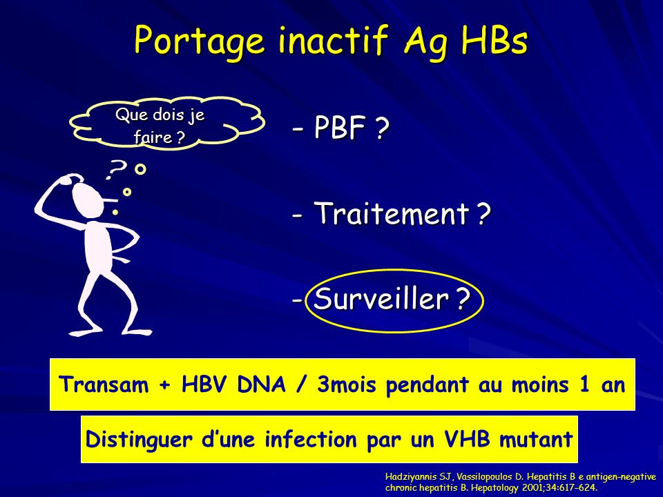 Portage inactif Ag HBs - PBF - Traitement - Surveiller