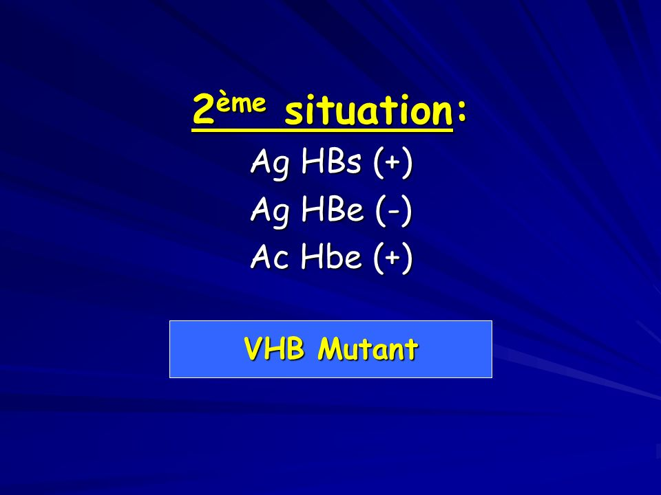 2ème situation: Ag HBs (+) Ag HBe (-) Ac Hbe (+) VHB Mutant