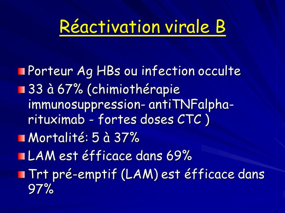 Réactivation virale B Porteur Ag HBs ou infection occulte