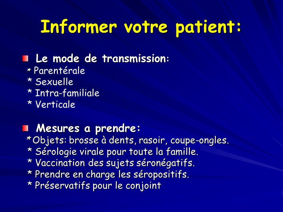 Informer votre patient: