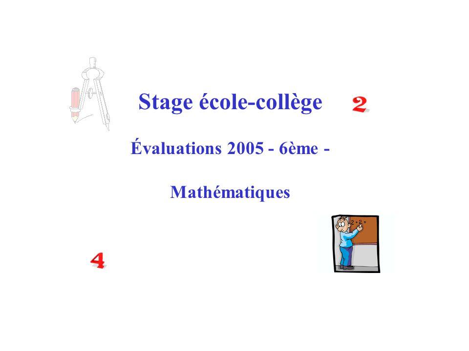 Stage école-collège Évaluations 2005 - 6ème - Mathématiques