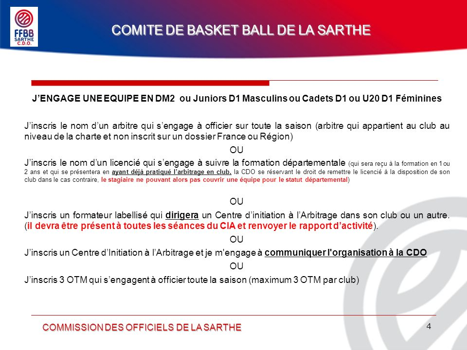 COMITE DE BASKET BALL DE LA SARTHE