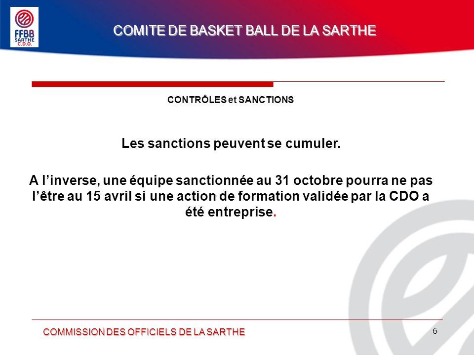 CONTRÔLES et SANCTIONS Les sanctions peuvent se cumuler.