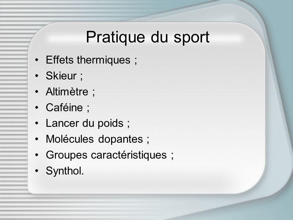 Pratique du sport Effets thermiques ; Skieur ; Altimètre ; Caféine ;