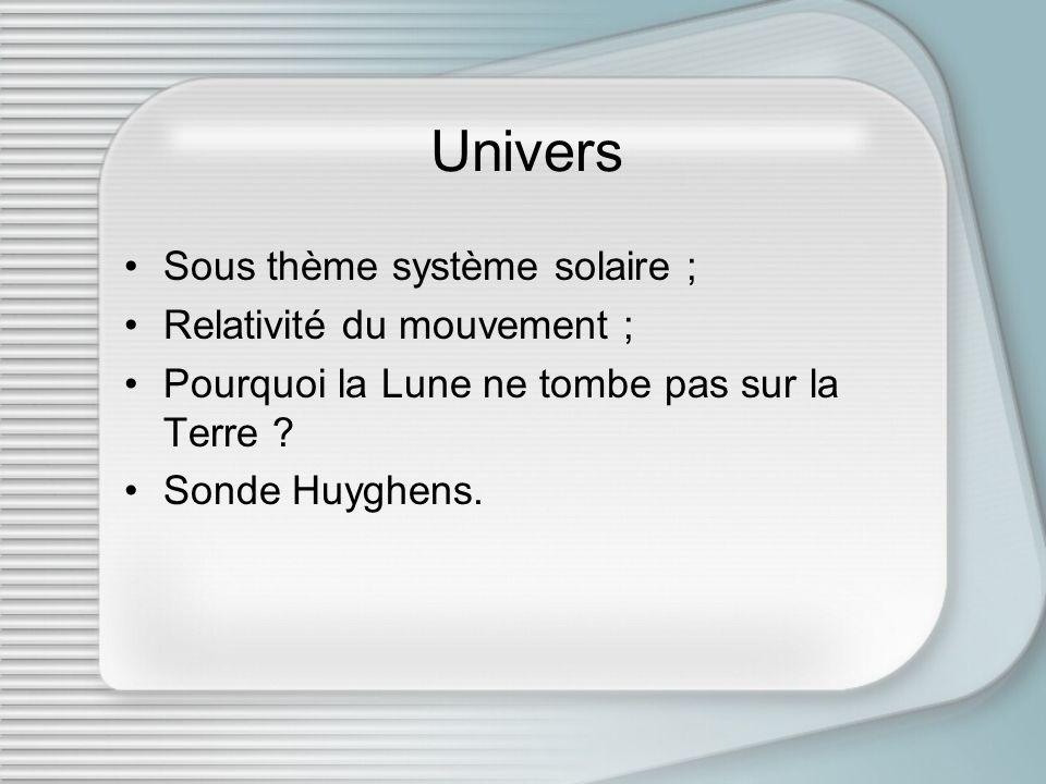 Univers Sous thème système solaire ; Relativité du mouvement ;