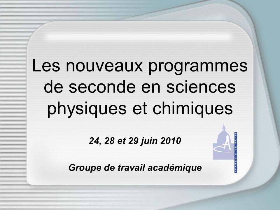 Les nouveaux programmes de seconde en sciences physiques et chimiques