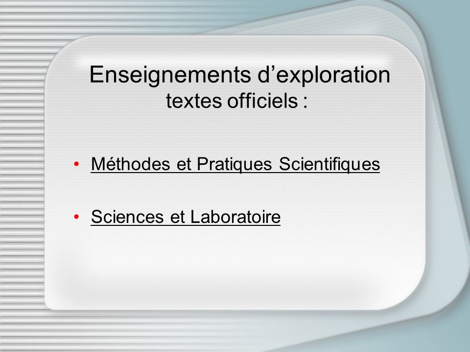 Enseignements d'exploration textes officiels :