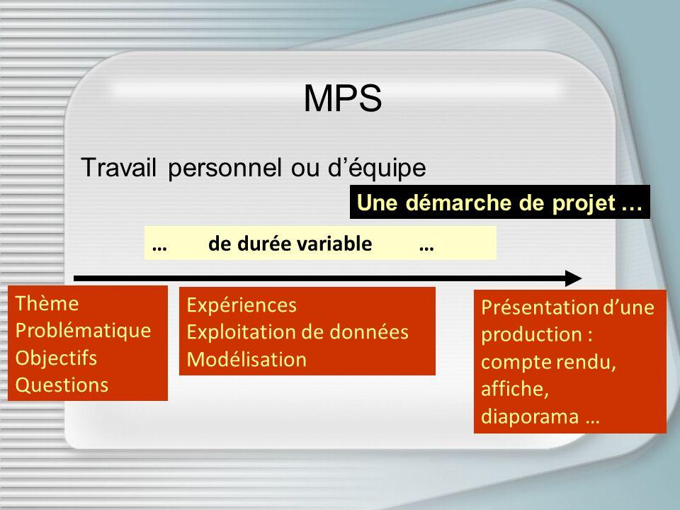 MPS Travail personnel ou d'équipe Une démarche de projet …