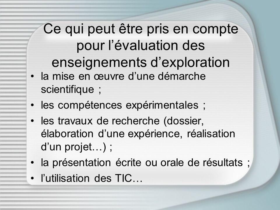Ce qui peut être pris en compte pour l'évaluation des enseignements d'exploration