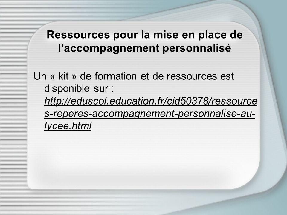 Ressources pour la mise en place de l'accompagnement personnalisé